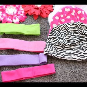 Baby hats and headbands and flower clip set
